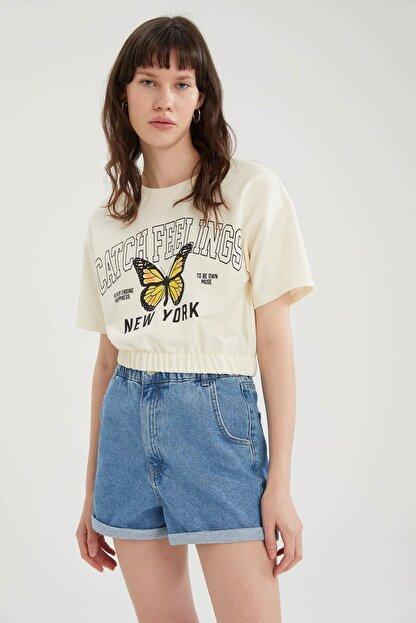Defacto Kadın Ekru Kelebek Baskılı Beli Lastikli Crop Tişört