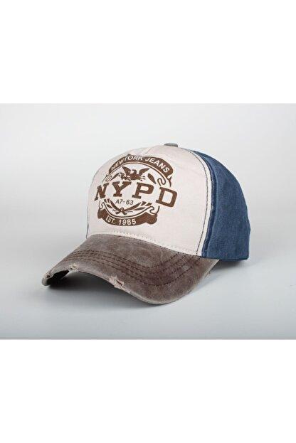 Cosswell Unisex Nypd Eskitme Tasarım Kahverengi Lacivert Şapka