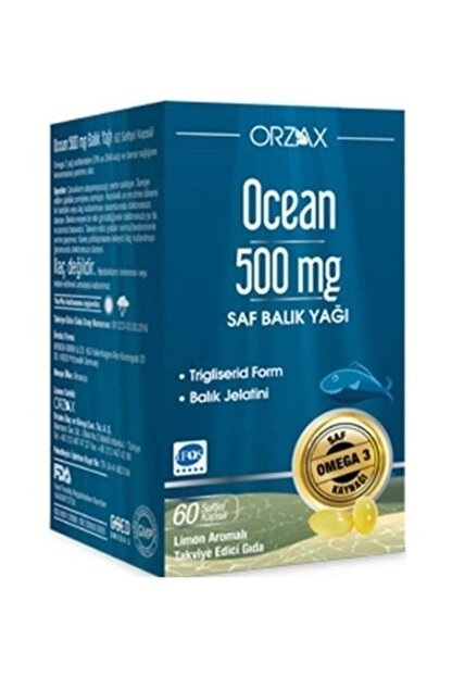 Ocean Balık Yağı 500mg Takviye Edici Gıda 60 Kapsül