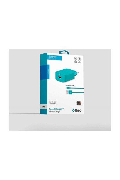 Ttec SpeedCharger Serisi Micro Usb Kablolu 2.1A Seyahat Şarj Cihazı Turkuaz