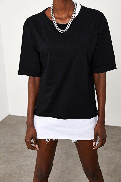 Xena Kadın Siyah Yakası & Eteği Garnili Salaş T-Shirt 1KZK1-11558-02