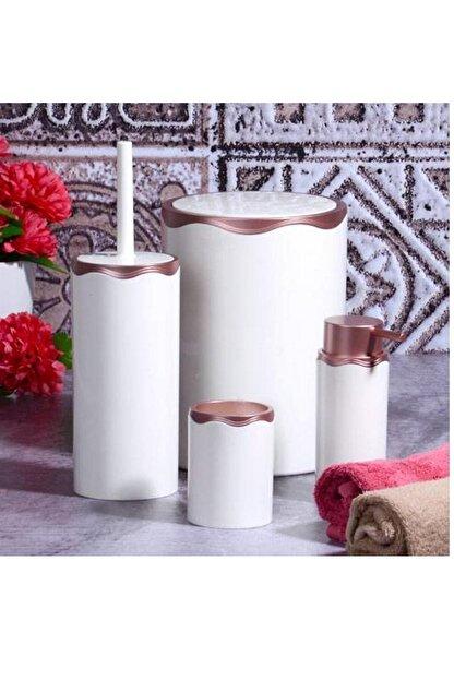 Azra 4 Parça Akrilik Beyaz Mat Bakır Banyo Seti