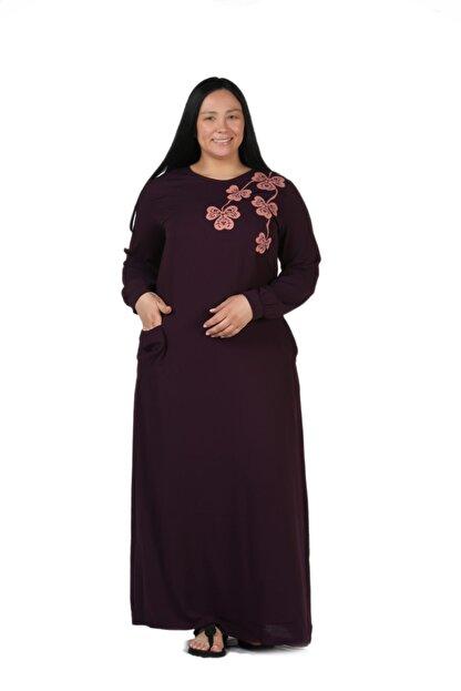 New Color Kadın Mürdüm Nakış Detaylı Uzun Krinkıl Elbise