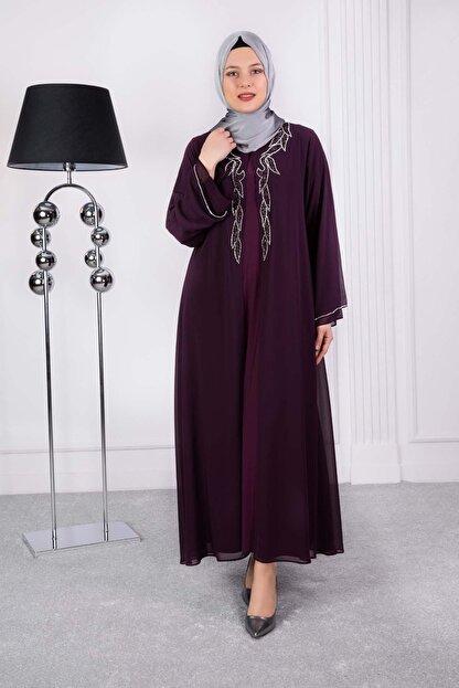 behrem Lale Abiye Elbise Mürdüm 53008