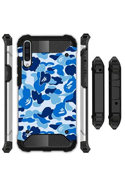 cupcase Samsung Galaxy A70 Kılıf Desenli Sert Korumalı Zırh Tank Kapak - Mavi Komando