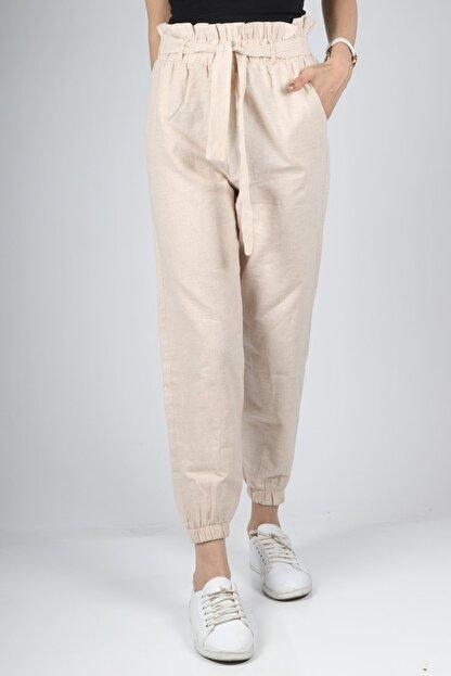 HAKKE Kadın Vizyon Bel Kurdele Paça Lastik Pantolon