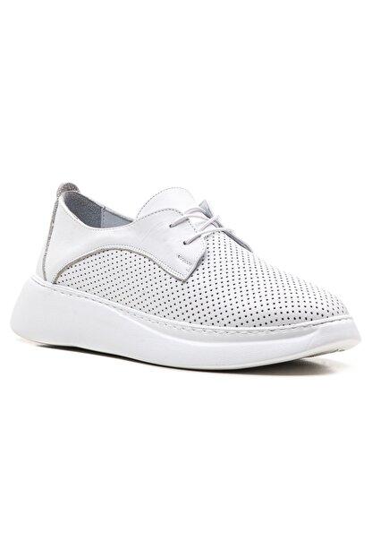 GRADA Beyaz Yüksek Tabanlı Hakiki Deri Kadın Sneaker Ayakkabı