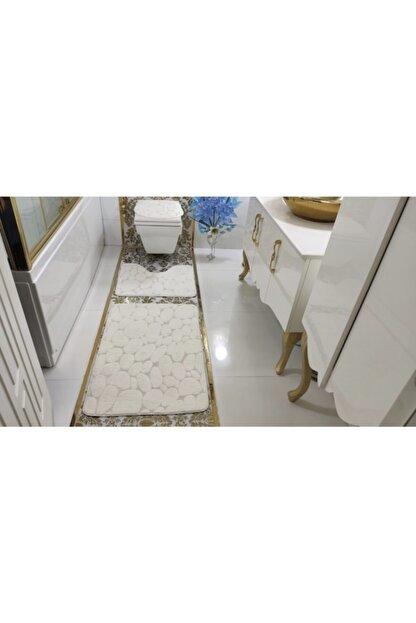 BotigaHome Stone Beyaz Banyo Halısı Klozet Takımı 3'lü Set