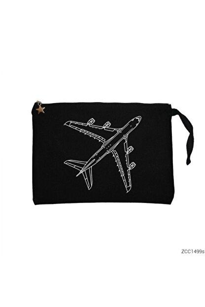 Zepplin Giyim Airbus A380 Top Siyah Clutch Astarlı Cüzdan / El Çantası