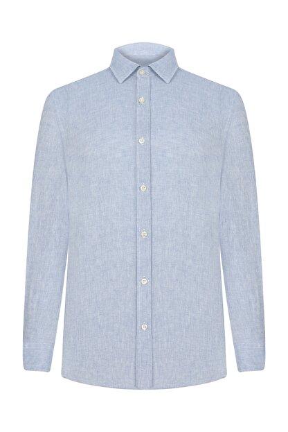 Mudo Erkek Açık Mavi Regular Kesim Keten Gömlek 368435