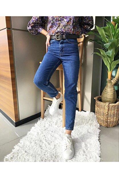 Stock Koyu Yüksek Bel Mom Jean