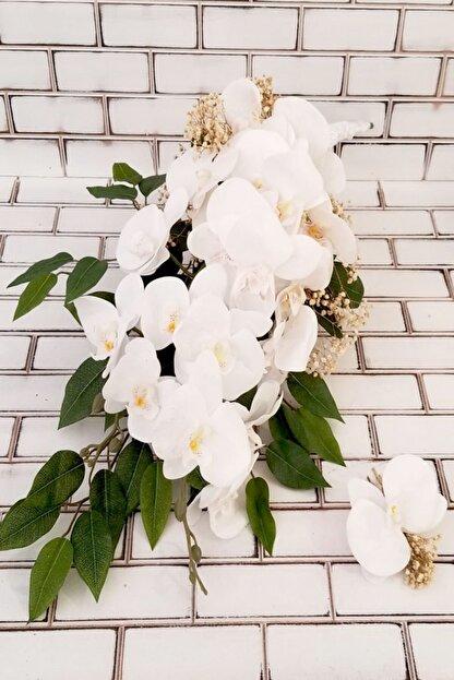 Yapay Çiçek Deposu Beyaz Orkide Şöleni 2li Set