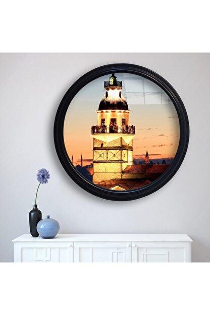 Duvar Tasarım Camlı Siyah Çerçeveli Istanbul Kız Kulesi Tablosu 48x48 cm