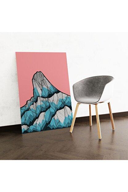 Dekoliya Çizğisel Mavi Dağ Tablosu