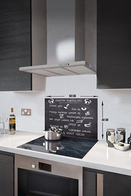 Decorita Kara Tahta Görünümlü Mutfak Kuralları | Cam Ocak Arkası Koruyucu | 40cm x 60cm