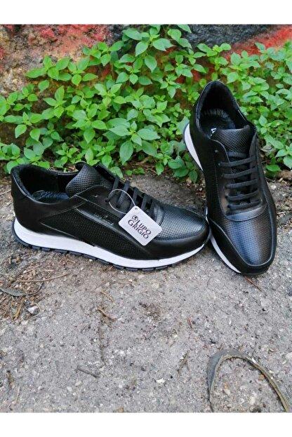 Lupo Grigio Erkek Siyah Hakiki Deri Casual Ayakkabı  (501)