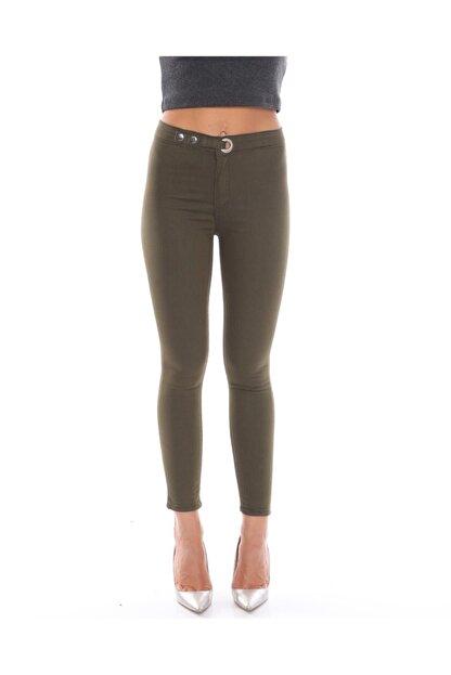 trendmany Kadın Kemerli Skinny Likralı Arkası Çift Cepli Dar Paça Pantolon