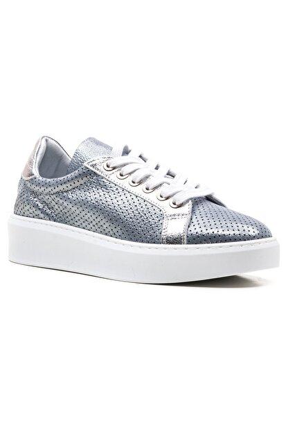 GRADA Mavi Gümüş Yazlık Astarsız Hakiki Deri Kadın Ayakkabı