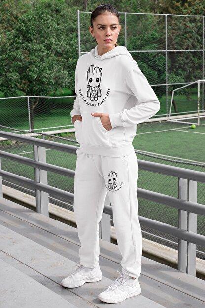 Angemiel Wear Groot Kadın Eşofman Takımı Beyaz Kapşonlu Sweatshirt Beyaz Eşofman Altı