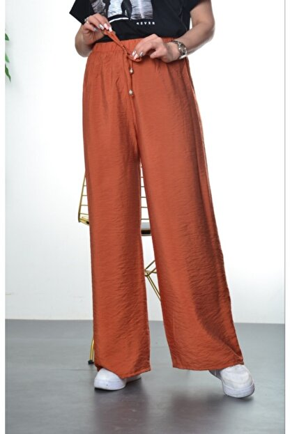 Modayns Kadın Kiremit Beli Lastikli Dokuma Salaş Pantolon