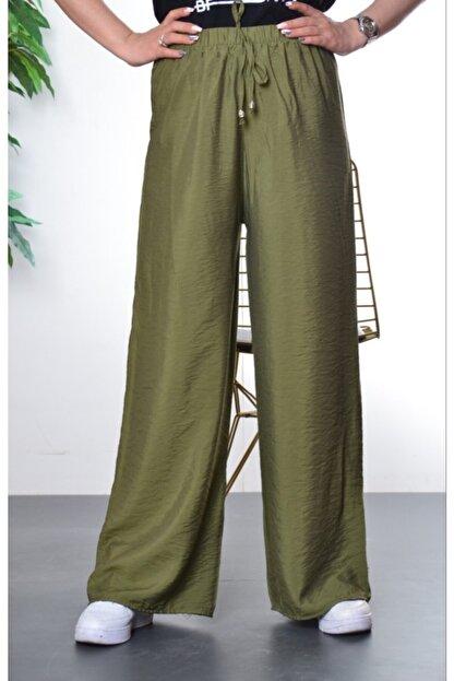 Modayns Kadın Haki Beli Lastikli Dokuma Salaş Pantolon