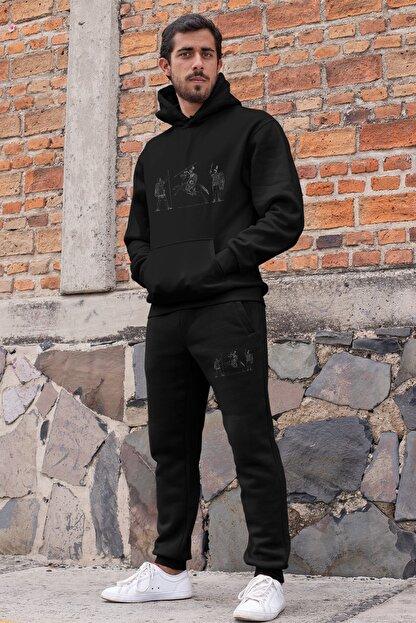 Angemiel Wear Süvari Ve Piyadeler Erkek Eşofman Takımı Siyah Kapşonlu Sweatshirt Siyah Eşofman Altı