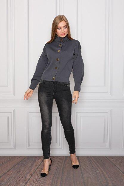 COTENCONCEPT Kadın Gri Uzun Kollu Dik Yaka Önden Düğmeli Ceket
