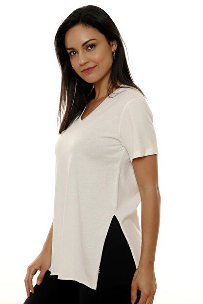 MARIQUITA Kadın Ekru Mari Yırtmaçlı T-shirt