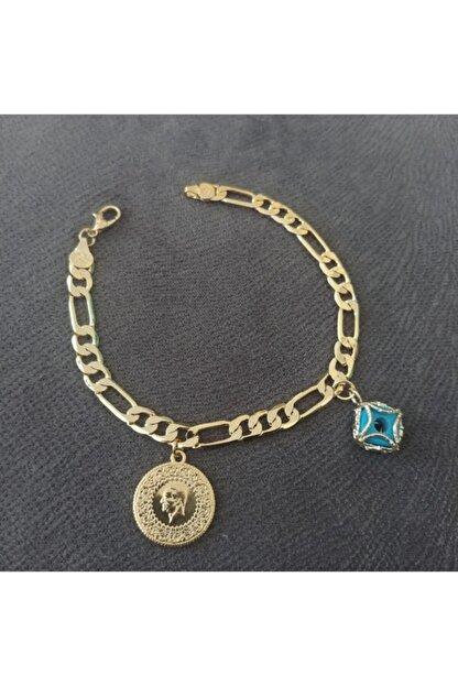 TAKI TASARIM Kadın Altın Klasık Zıncır Ceyreklı Boncuklu Künye Ölçü 20 cm