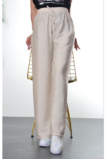 Modayns Kadın Taş Renkli Beli Lastikli Dokuma Salaş Pantolon
