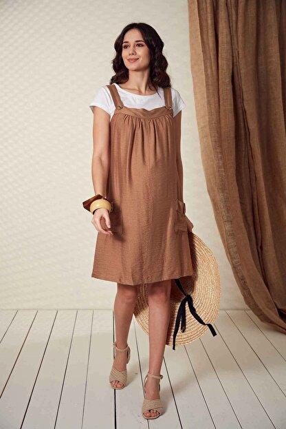 Görsin Hamile Kadın Düğme Detaylı Askılı  Vizon Hamile Elbise