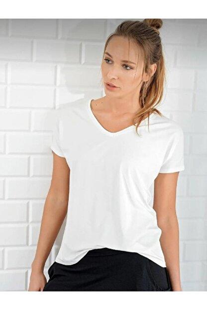 BLACK Kadın Ekru V Yaka Basic T-shirt