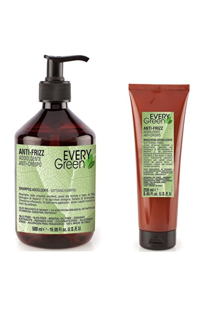 EveryGreen Kabarma ve Elektriklenme Karşıtı Anti Frizz - Asi Kabaran Saçlar Serisi Şampuan 500ml+250ml Maske