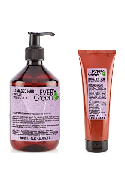 EveryGreen Yeniden Yapılandırıcı ve Onarıcı Yıpranmış Saçlar Serisi- Damaged Hair Şampuan + 250ml Maske