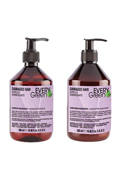 EveryGreen Yeniden Yapılandırıcı ve Onarıcı Yıpranmış Saçlar Serisi- Damaged Hair 500ml Şampuan + 500ml Krem