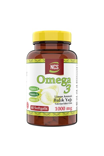 Ncs Omega 3 Balık Yağı Doğal Limon Aromalı 1000 mg 60 Yumuşak Kapsül