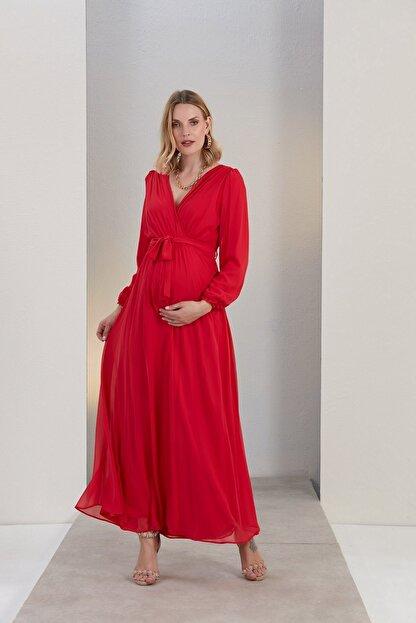 Görsin Hamile Gör&sin Kuşak Detaylı Hamile Mercan Elbise