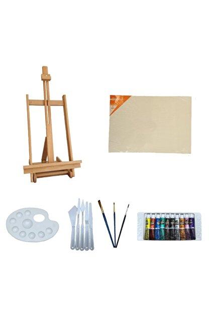 pin hobi&tasarım Yağlı Boya Hobi Seti - Ahşap Masaüstü Şövale