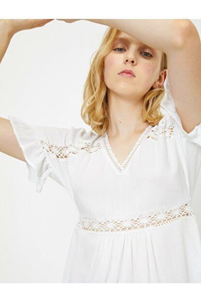 Koton Kadın Beyaz Dantel Detayli Bluz 9YAL68294IW