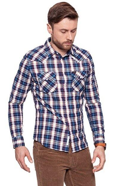 Lee Wrangler Erkek Mavi Kareli Western Slım Fıt Gömlek