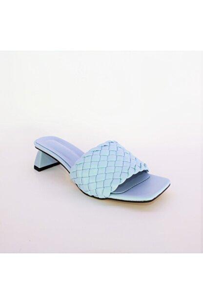 Miss Bella Kadın Mavi Örgülü Bantlı Kısa Topuklu Sandalet Terlik