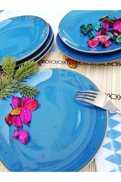 Tulü Porselen Antik 93 Mavi 6 Adet 19 cm Pasta Tabağı Takımı