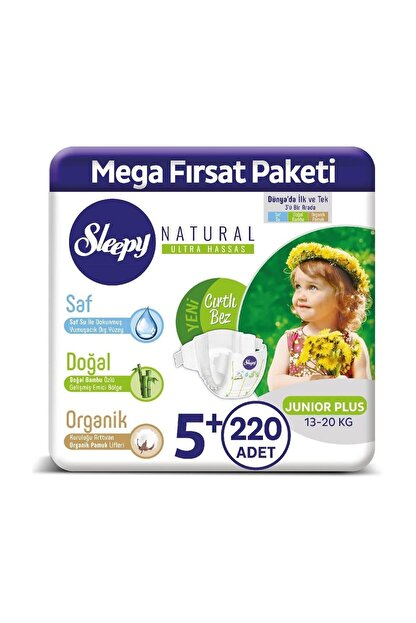 Sleepy Natural Bebek Bezi 5+ Numara Junior Plus 220 Adet