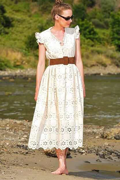 Trend Alaçatı Stili Kadın Bej Kendinden Kemerli Astarlı Premıum Güpür Elbise Alc-X4411