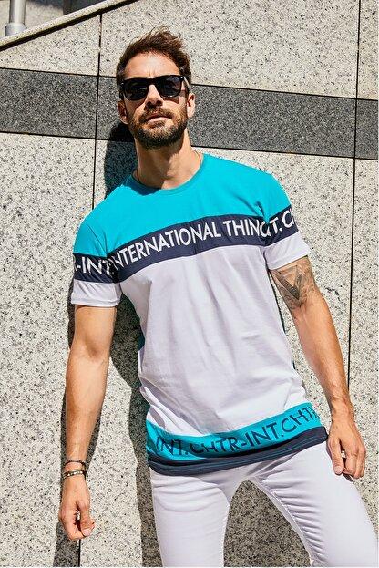Sateen Men Erkek Turkuaz-Beyaz Slimfit Yazı Baskılı T-Shirt