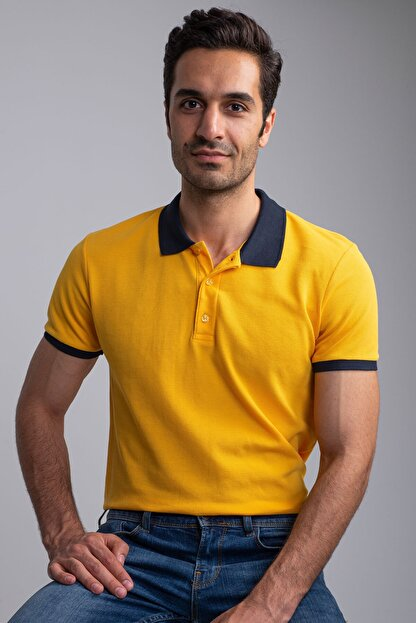 Dufy SARI POLO YAKA ERKEK T-SHIRT - SLIM FIT