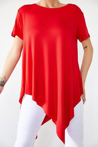 Xena Kadın Kırmızı Asimetrik Bluz 0YZK2-10096