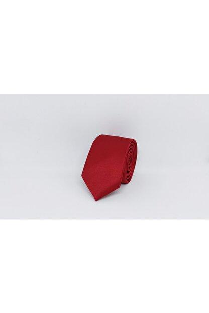 Elegante Cravatte Erkek Kırmızı Mat Saten Kravat