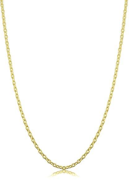VELCCİ Kadın Gümüş Ince Forse Zincir 24 Ayar Altın Kaplama Kolye Özel 0.70mm Mücevher