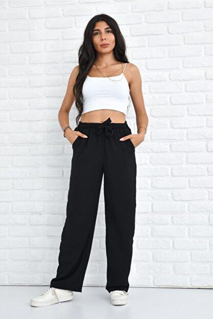 Orjinshop Kadın Siyah Palazzo Yazlık Beli Lastikli Bol Paça Tiril Aerobin Pantolon